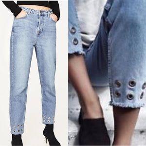 Zara grommet fray hem straight leg high rise jeans